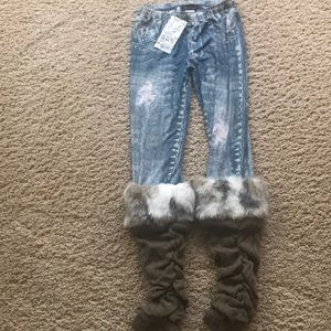 Girls Faux denim leggings